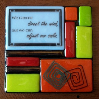 Inspirational friendship gift in fused stained glass and made in the USA