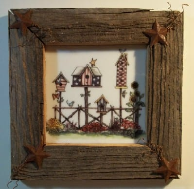 Patriotic birdhouses on stained glass and framed in weathered wood