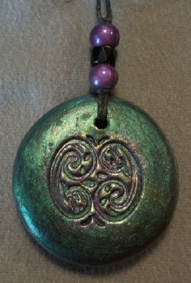 celtic knot pendant in polymer clay and mica made in the USA