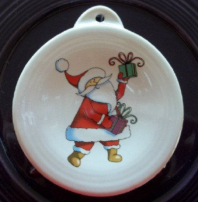 contemporary Santa fired on pottery ornament and made in the USA