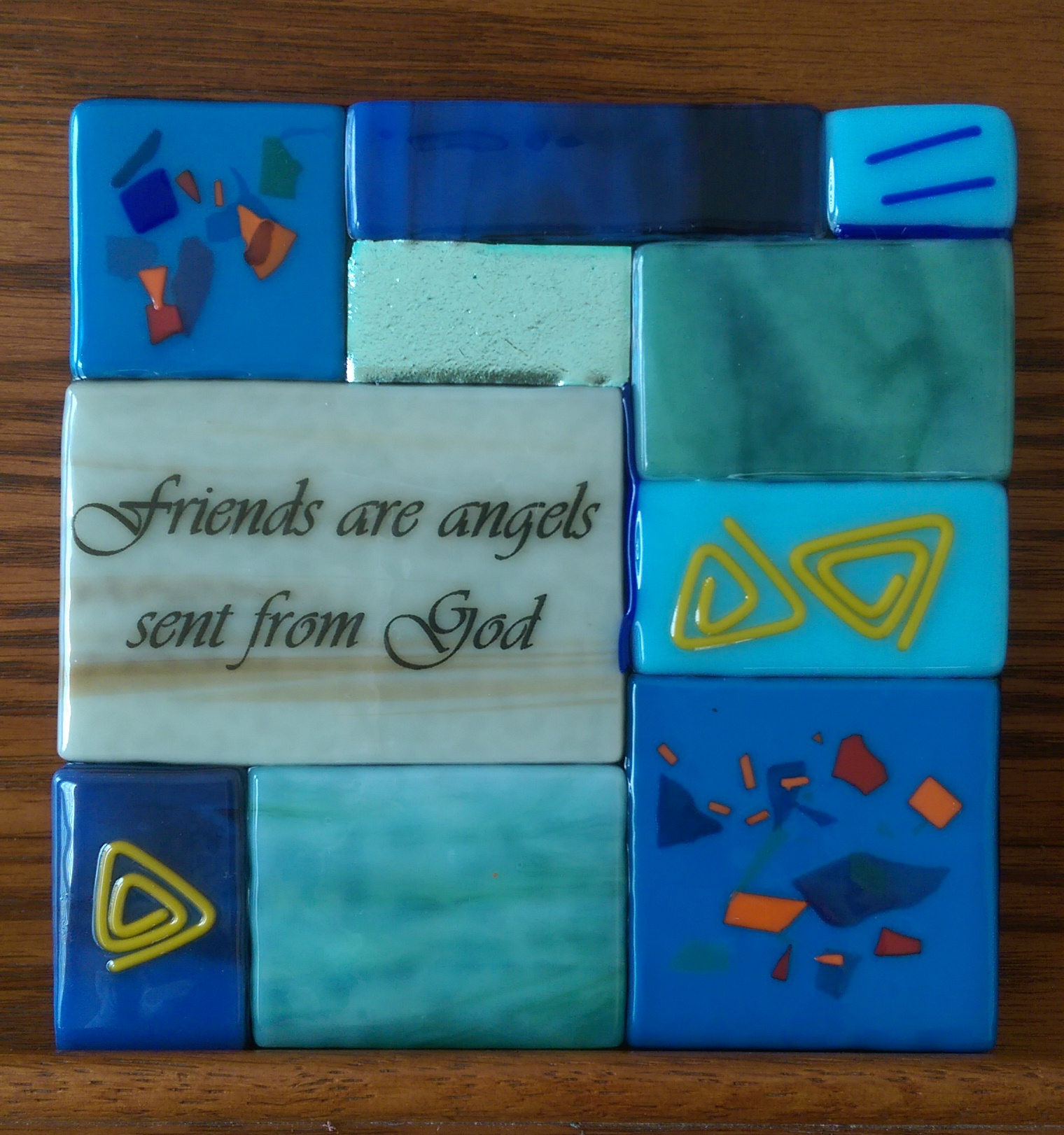 Inspirational friendship gift in fused stained glass - cool colors - and made in the USA