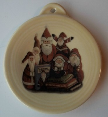 Old World Santas fired on pottery ornament made in the USA