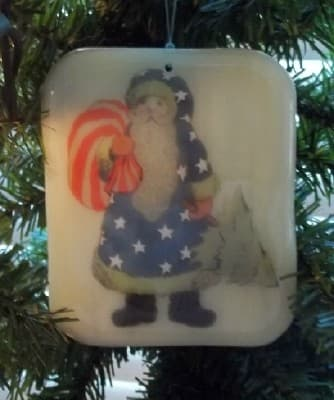 stained glass patriotic country santa ornament