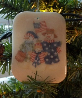patriotic snowmen on stained glass made in the USA