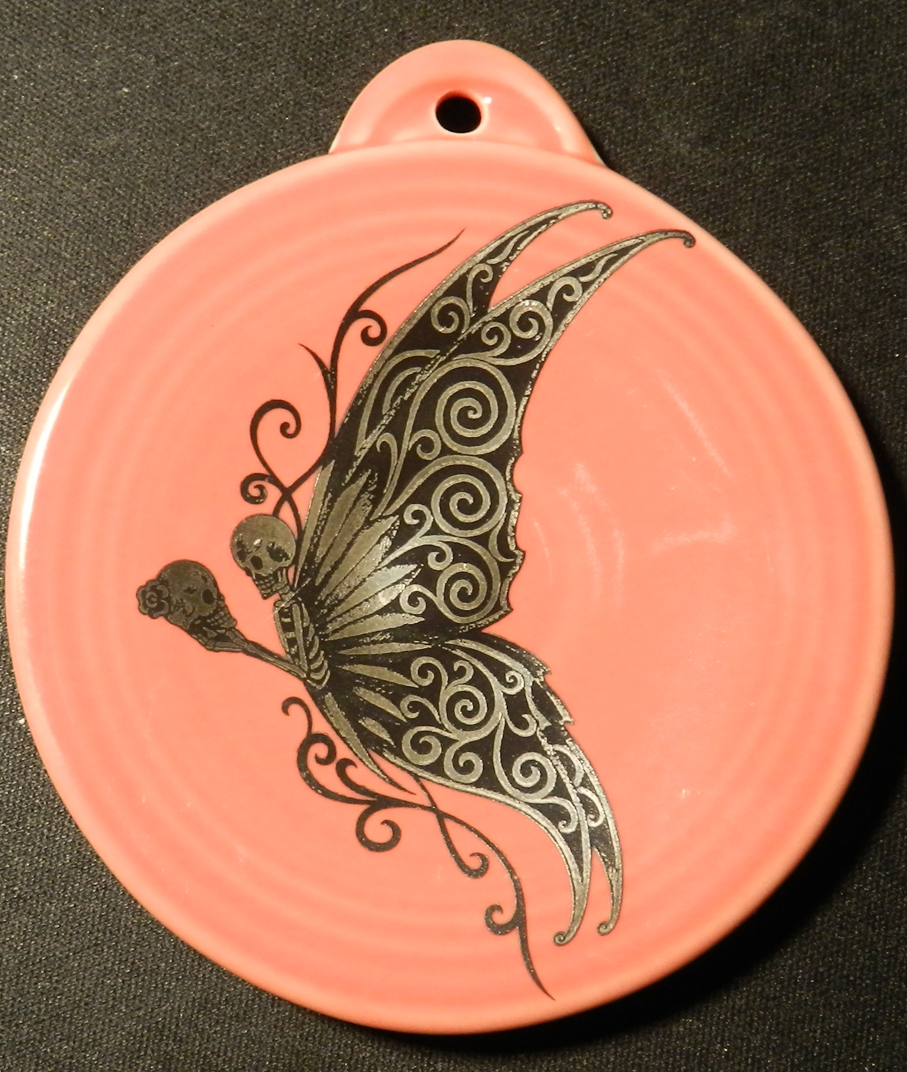 Skeleton butterfly fired on pottery ornament and made in the USA